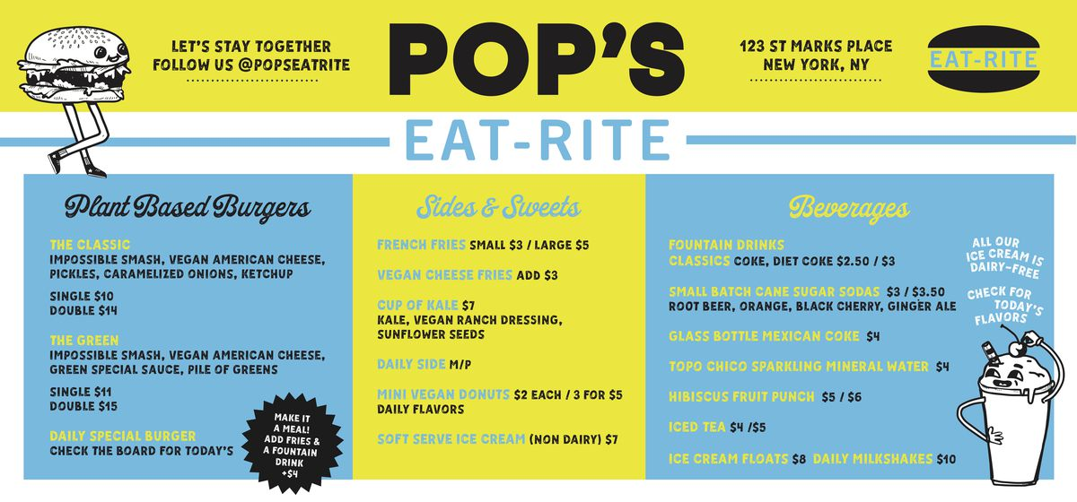 """A neon blue and yellow menu lists burgers, sides, and drinks for a restaurant called """"Pop's Eat-Rite"""""""