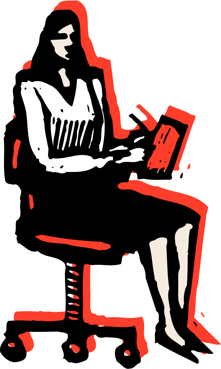 Illustration of a woman taking notes while sitting in a chair.