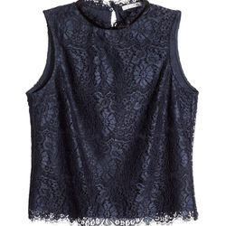 Balance the ladylike lace of this top from H&M with grittier elements, like distressed 501s and a leather bomber.