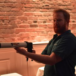 Nathanial Zimet with his extruding cannon