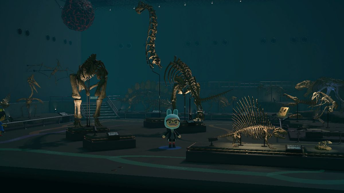 A villager stands amid fossils in the museum from Animal Crossing: New Horizons