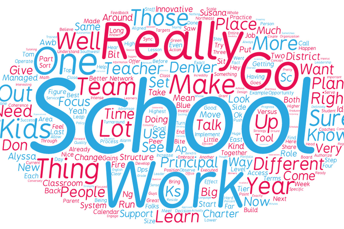 A word cloud based on an interview with Denver Public School's top officials Susana Cordova, chief schools officer, and Alyssa Whitehead-Bust, chief academic and innovation officer, illustrates what's on their minds. The two lieutenants are working toward creating smoother rollouts of district initiatives.