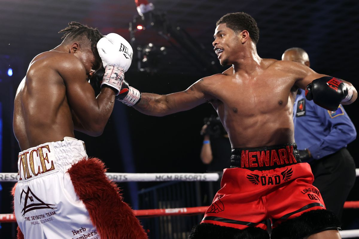 Shakur Stevenson and Toka Kahn-Clary exchange punches during their fight at the MGM Grand Conference Center on December 12, 2020 in Las Vegas, Nevada.