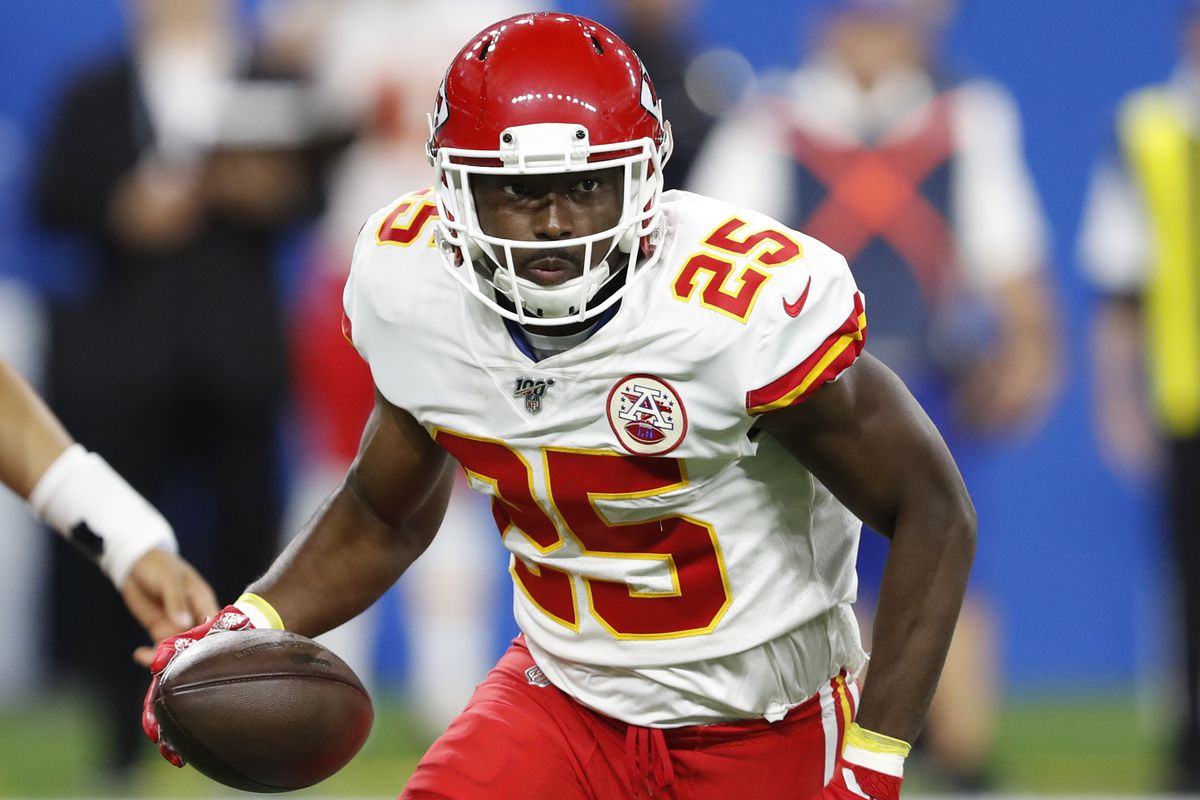Kansas City Chiefs running back LeSean McCoy runs the ball during the first quarter against the Detroit Lions at Ford Field.