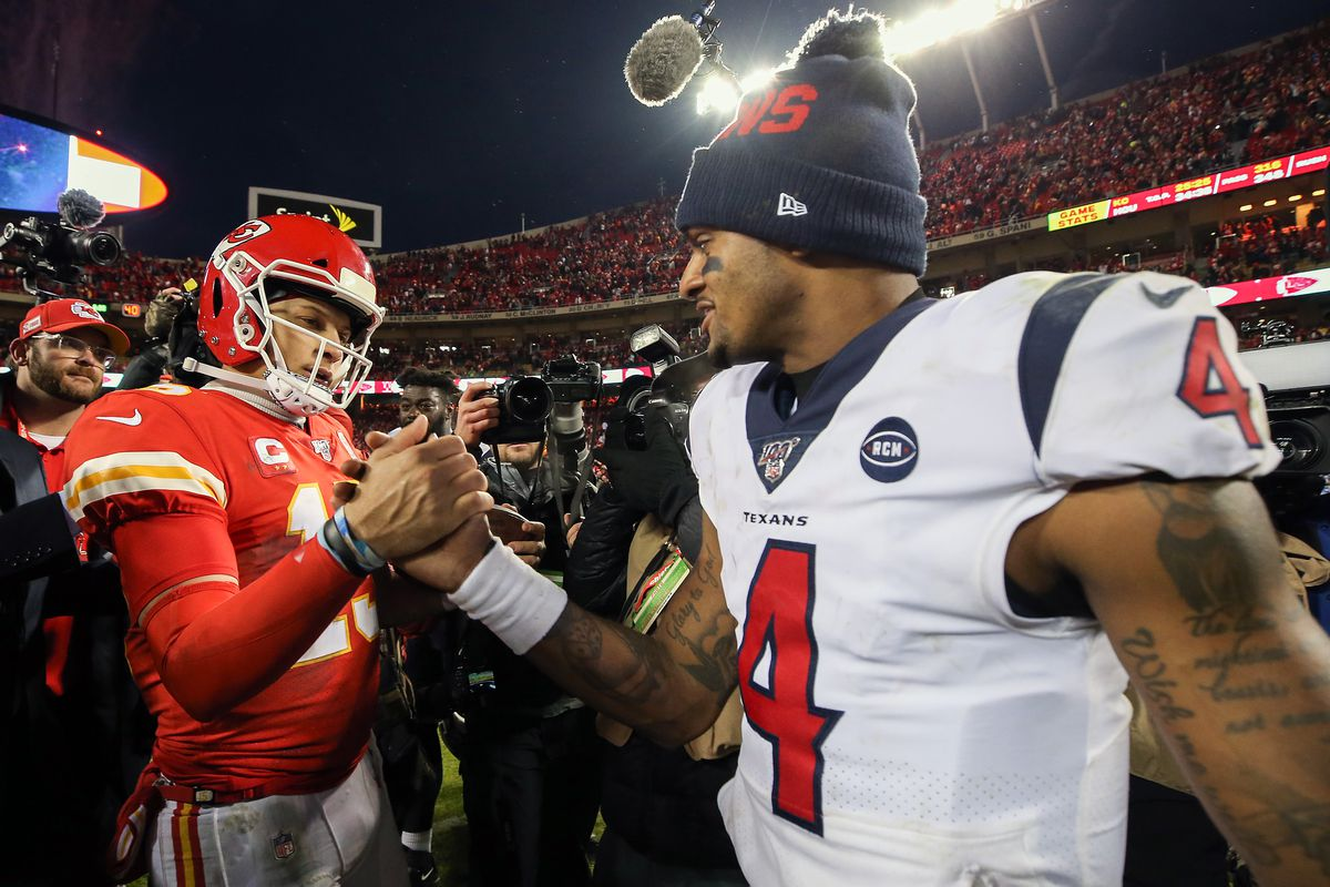Patrick Mahomes #15 of the Kansas City Chiefs and Deshaun Watson #4 of the Houston Texans shake hands following the AFC Divisional playoff game at Arrowhead Stadium on January 12, 2020 in Kansas City, Missouri.