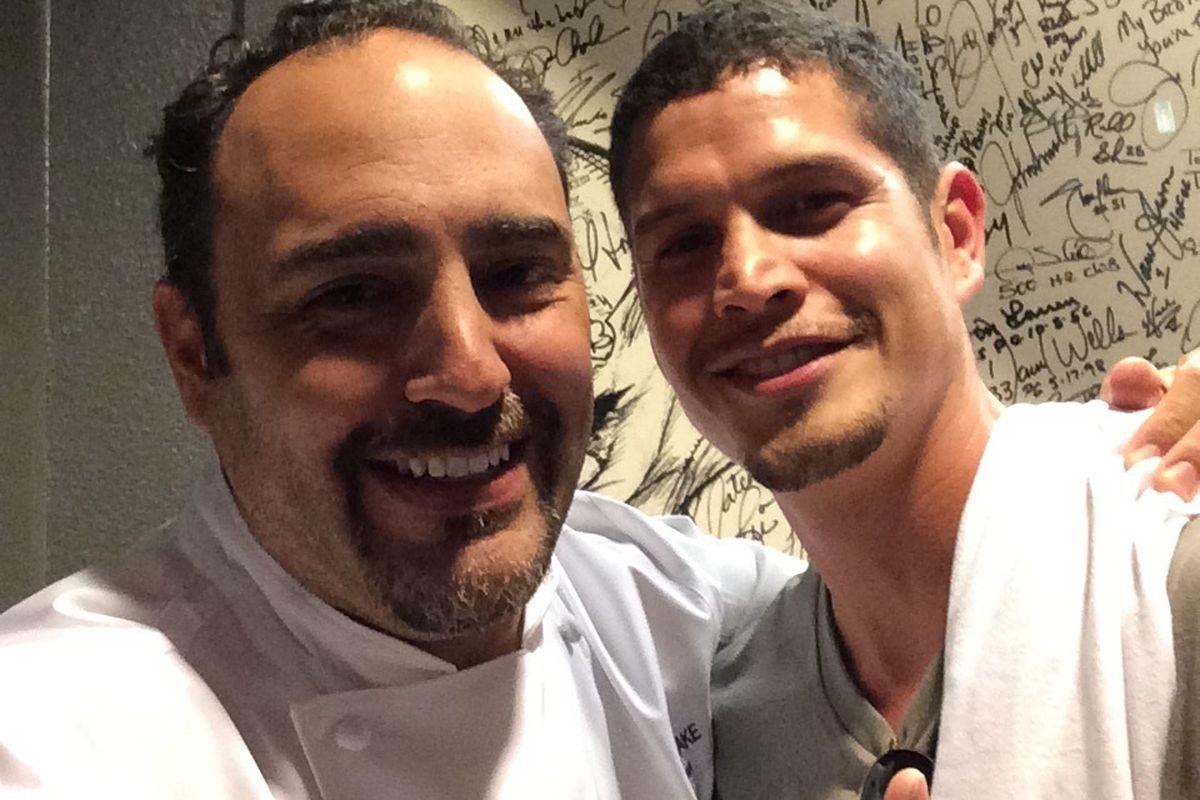 N9NE Steakhouse executive chef Barry S. Dakake with actor J.D. Pardo