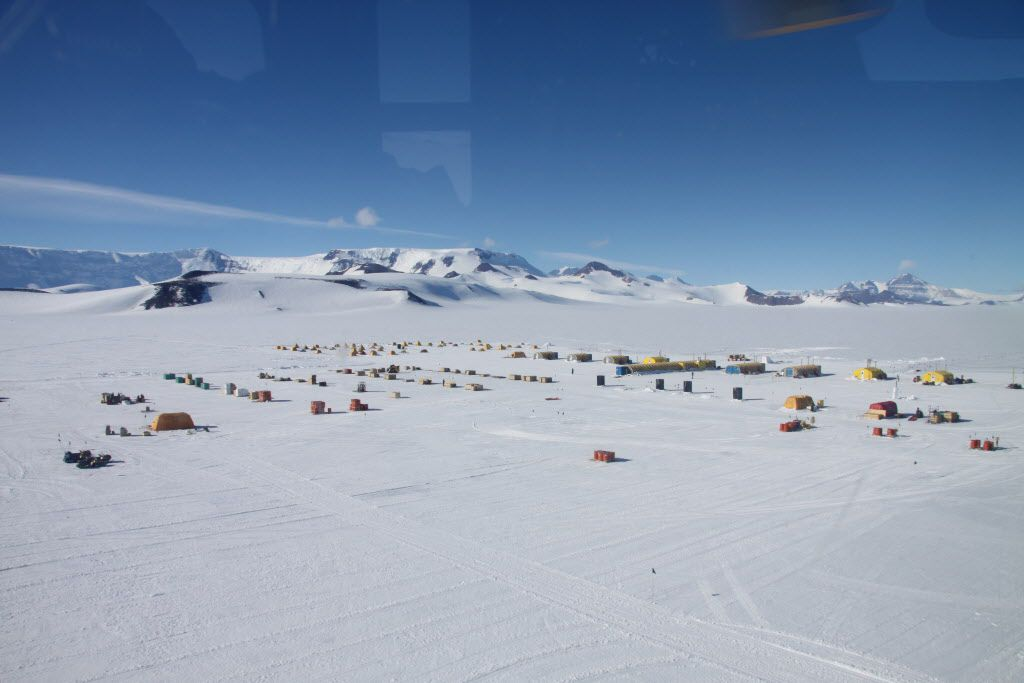 A view of the camp from which paleontologists set off by helicopter for Mount Kirkpatrick in 2010-11.