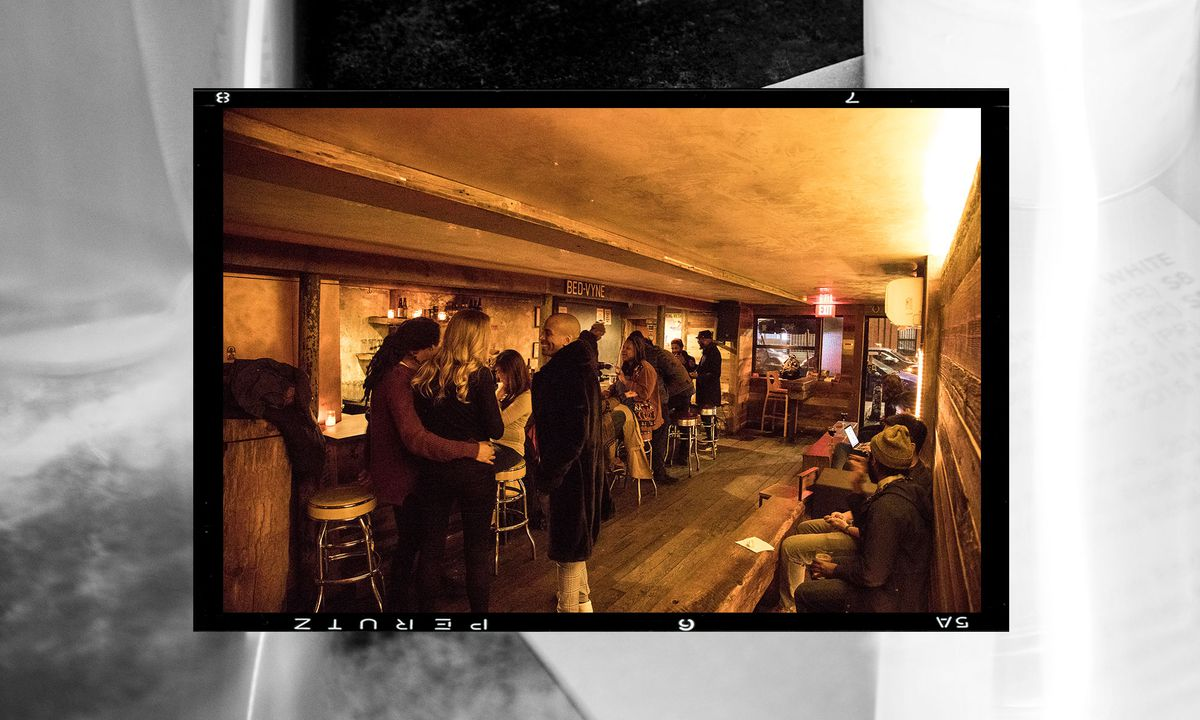 Patrons socializing at Bed-Vyne Brew in Brooklyn, New York