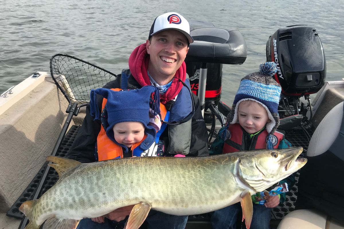 Kevin Butts with his son, Weston Butts, and daughter, Vail Butts, with a muskie on a family outing. Provided photo