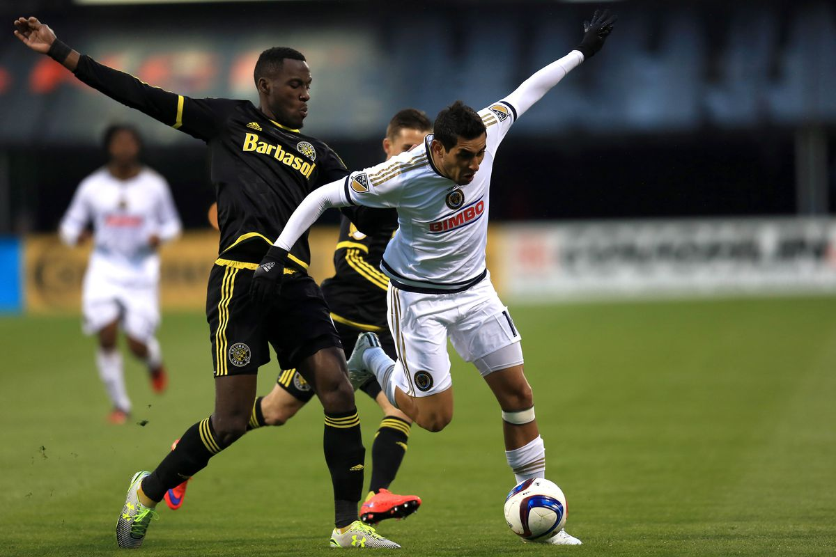 Columbus' Tony Tchani tries to body Philadelphia's Cristian Maidana off the ball in a lopsided meeting in April.