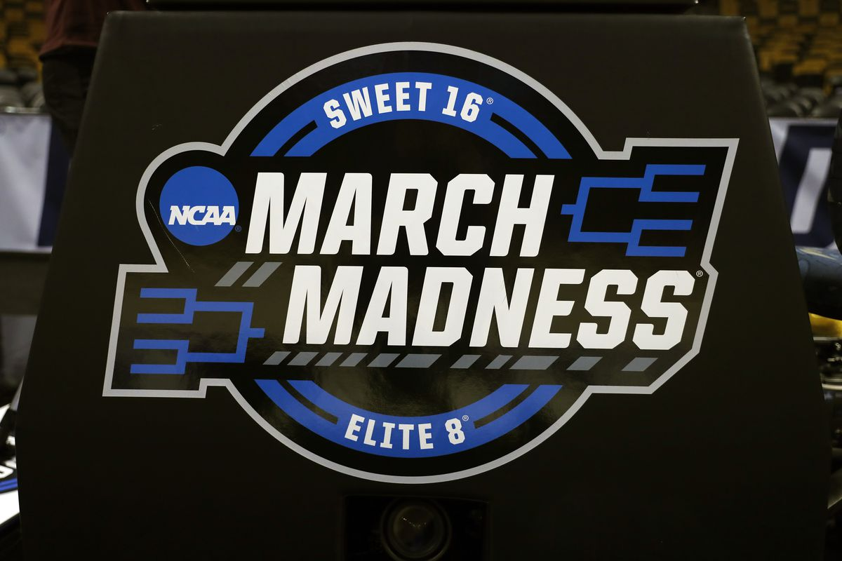 NCAA March Madness logo before an Elite Eight matchup between the Villanova Wildcats and the Texas Tech Red Raiders on March 25, 2018, at TD Garden in Boston, Massachusetts.