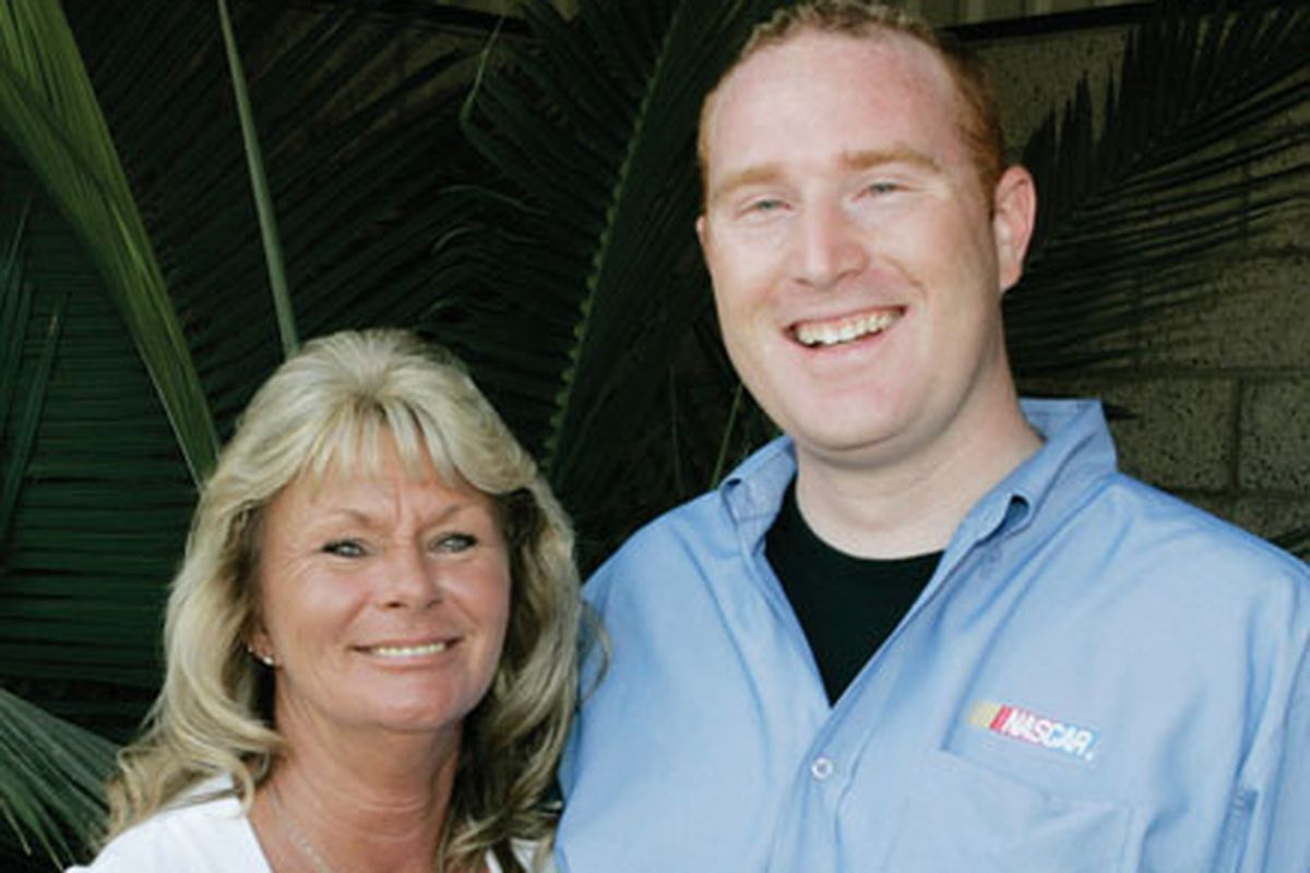Matthew Pattison with his mother, in 2008