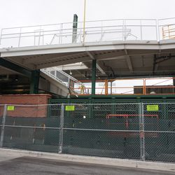 New addition between the bleachers and the left field grandstand, on Waveland Avenue