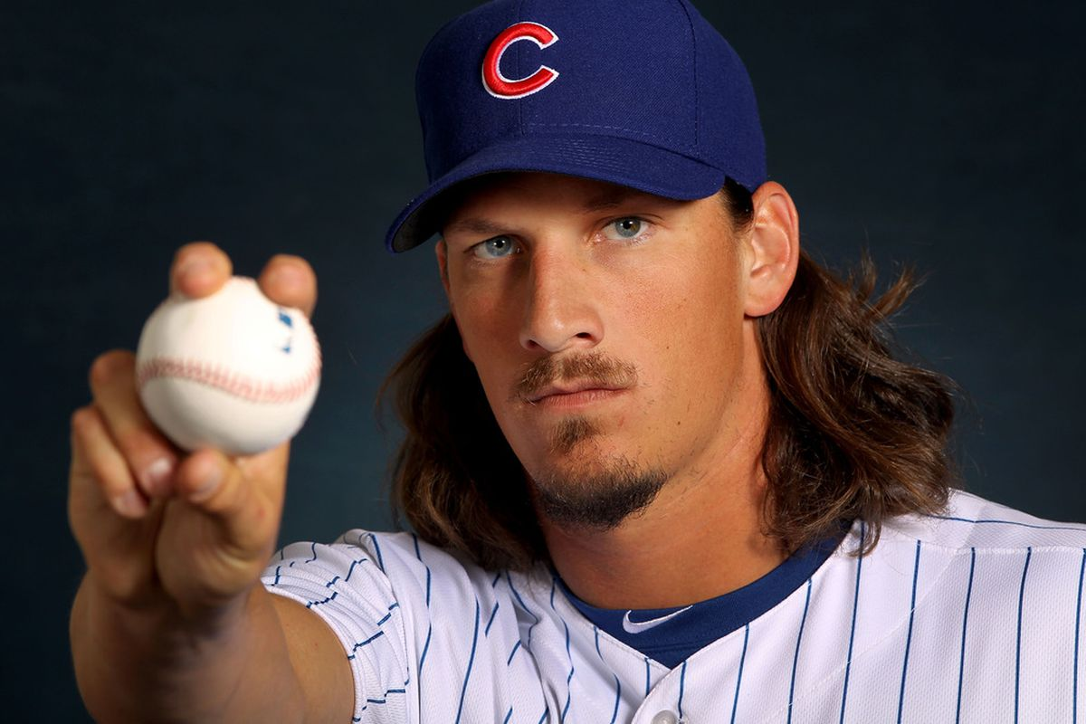 Jeff Samardzija of the Chicago Cubs poses during spring training photo day in Mesa, Arizona.  (Photo by Jamie Squire/Getty Images)