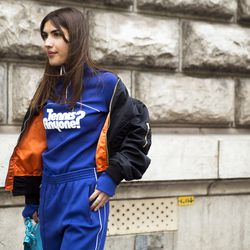 Unofficial Vetements spokesperson: Patricia Manfield in a Vetements bomber jacket and blue track suit.