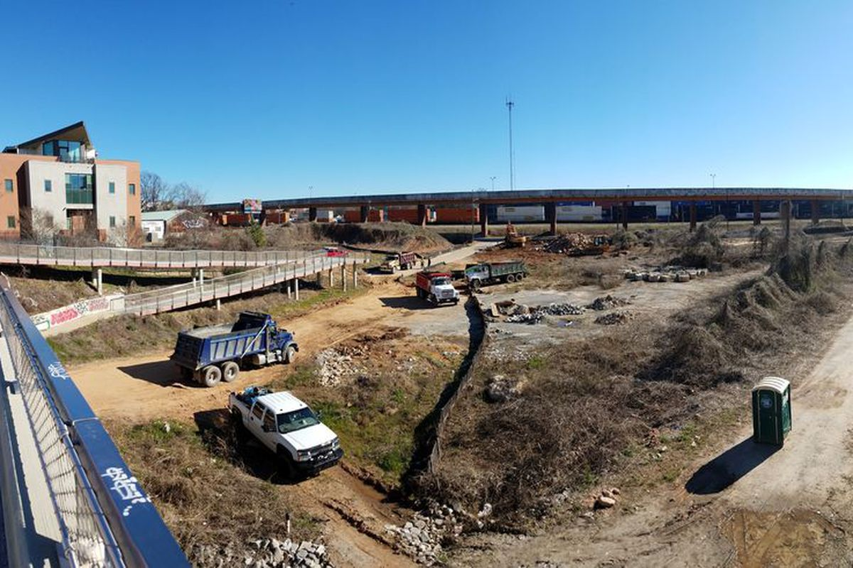 A panorama of construction activity last month looking south from the Edgewood Avenue bridge, where the Beltline gap is anticipated.