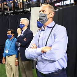 Brigham Young Cougars athletic director Tom Holmoe watches the game during the Vegas Kickoff Classic in Las Vegas on Saturday, Sept. 4, 2021. BYU won 24-16.