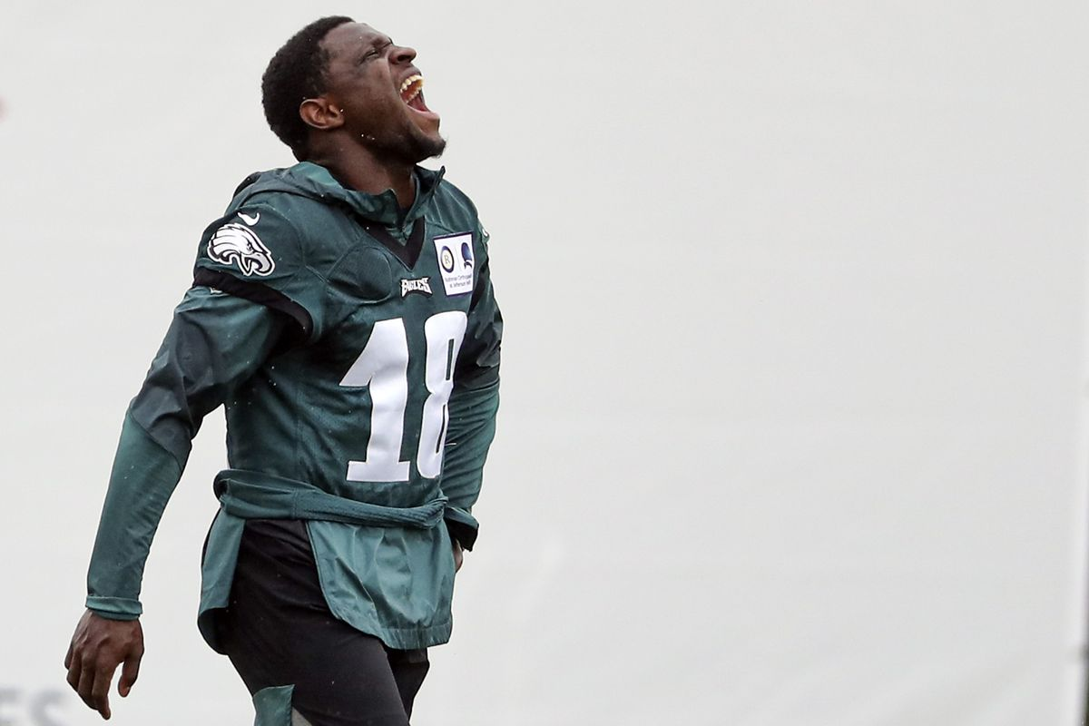 Jalen Reagor #18 of the Philadelphia Eagles reacts during training camp at NovaCare Complex on August 19, 2020 in Philadelphia, Pennsylvania.