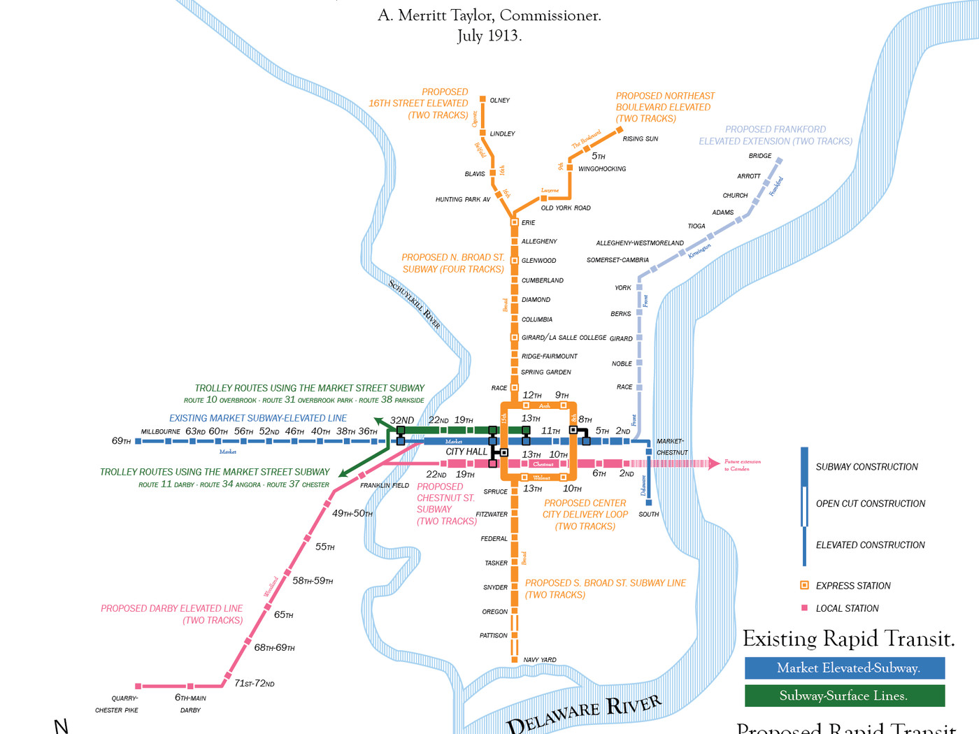 Subway Map Line 1.Map Of Philly S 1913 Subway Plan Shows What Public Transit Could