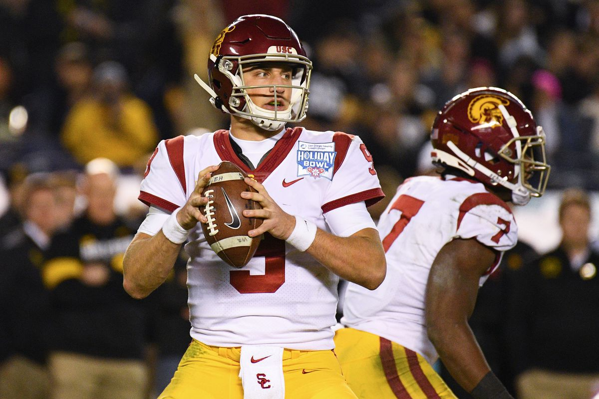 USC Trojans quarterback Kedon Slovis looks to pass during the San Diego County Credit Union Holiday Bowl football game between the USC Trojans and the Iowa Hawkeyes on December 27, 2019 at SDCCU Stadium in San Diego, California.