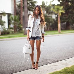 """Aimee of <a href=""""http://songofstyle.blogspot.com/"""">Song of Style</a> is wearing a <a href=""""http://www.revolveclothing.com/DisplayProduct.jsp?product=LOVF-WO21"""">Lovers & Friends x Because I'm Addicted</a> blazer, a Zara shirt, Levi's shorts, <a href=""""http"""