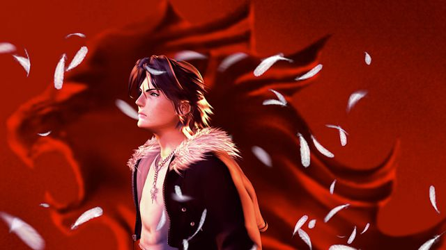 Hero character Squall stands in front of a red background in a screenshot from Final Fantasy 8