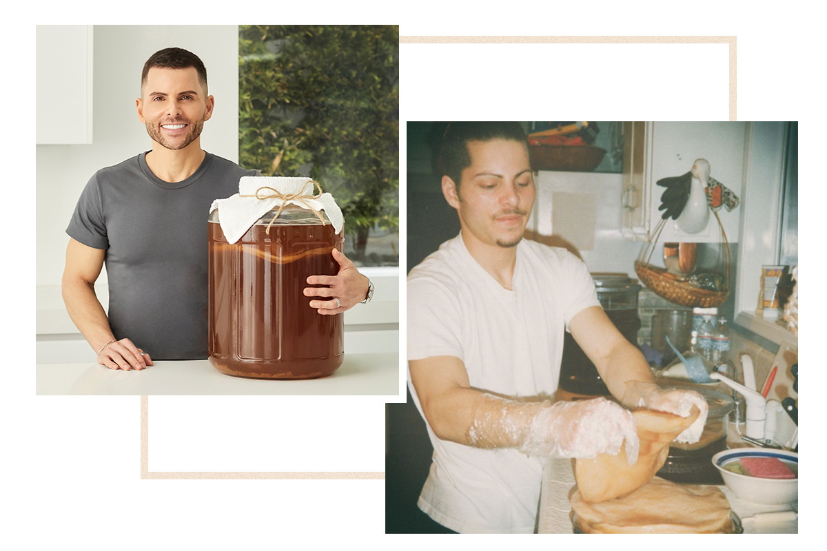 A photo montage of GT Dave with his arm around a glass vat of kombucha, as well as an archival image of GT Dave first making kombucha in his family's kitchen. He is wearing a white shirt and wears transparent plastic gloves as he stands before the counter.