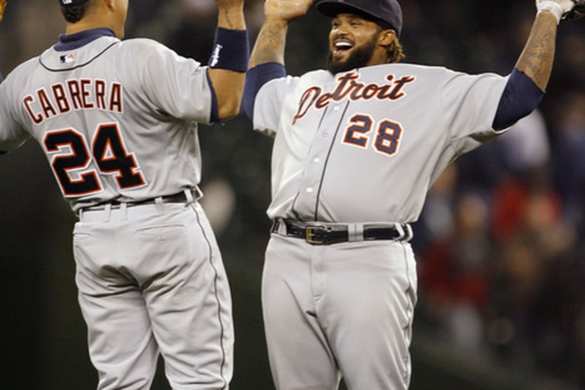 May 8, 2012; Seattle, WA, USA; Detroit Tigers players Prince Fielder (right) and Miguel Cabrera celebrate after the game against the Seattle Mariners at Safeco Field. Detroit defeated Seattle, 6-4. Mandatory Credit: Joe Nicholson-US PRESSWIRE