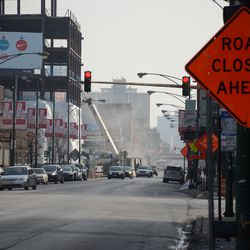 12:52 p.m. Saw this dust cloud, from Clark Street and Racine Avenue. Later determined that this was from road salt. The road salt used during the last snow storm has been pulverized, and turned into salt dust that was being kicked up by traffic -