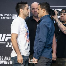 Ricardo Lamas and Mirsad Bektic square off at UFC 225 media day.