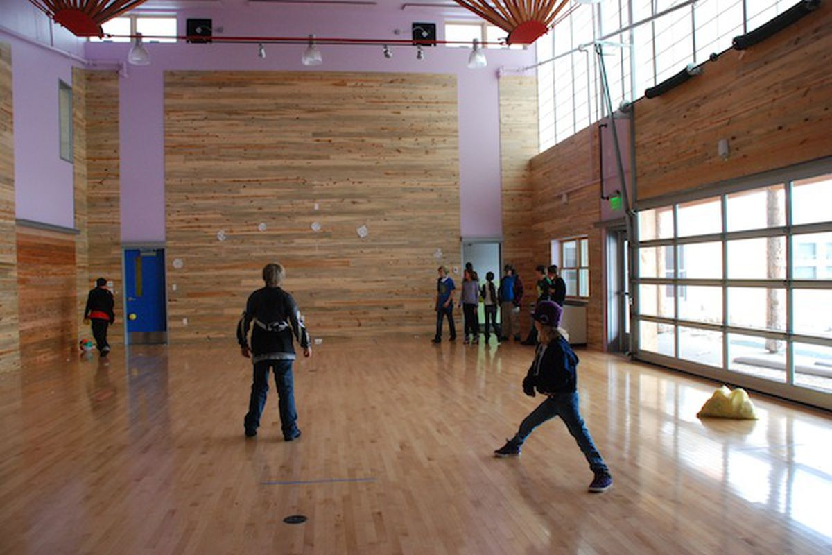 Crestone students play dodgeball in p.e., one of the school's more traditional activities.