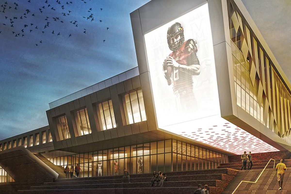 Renderings of the new indoor football facility at Cole Field House