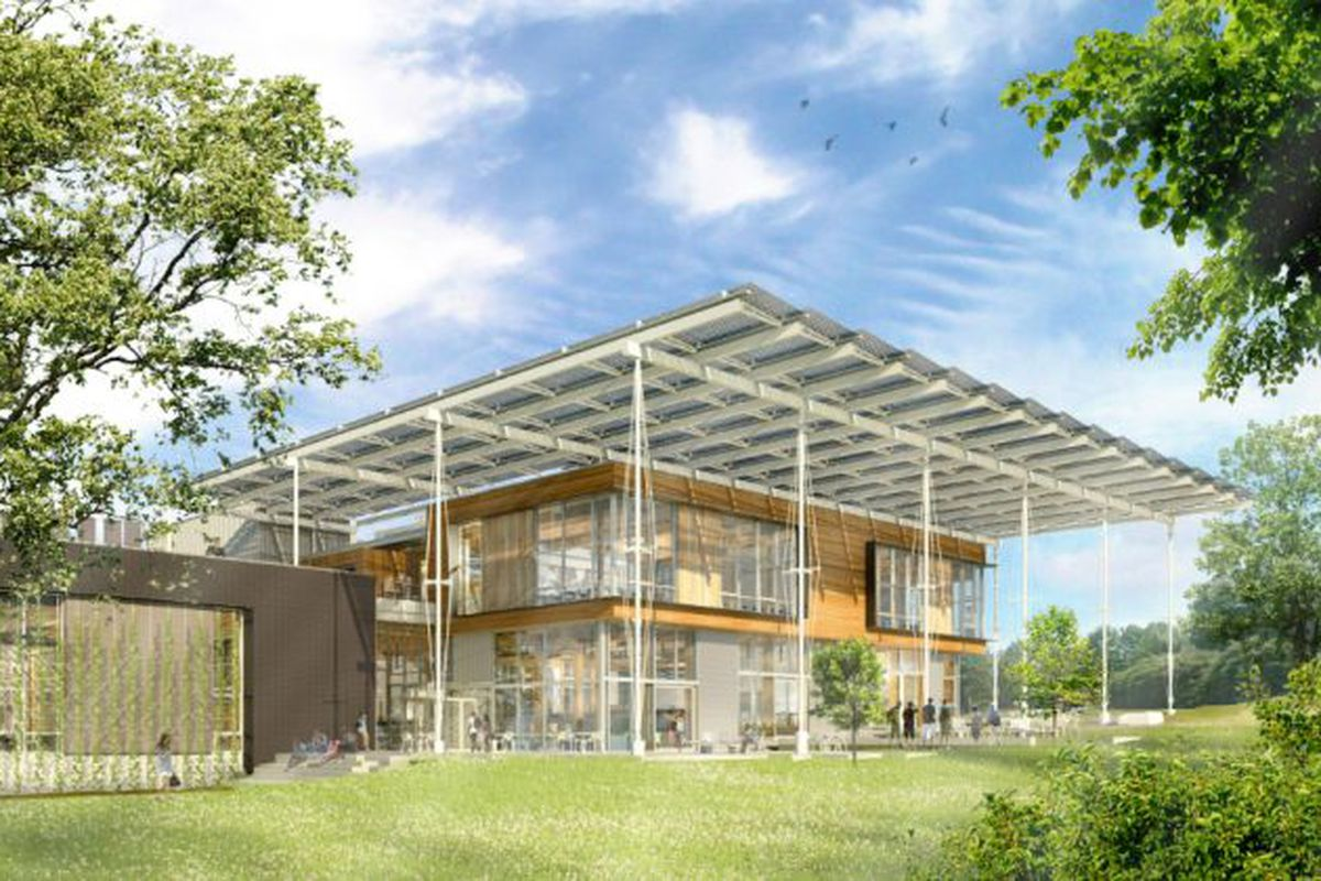 A rendering showing a two-story building will large overhanging flat roof.