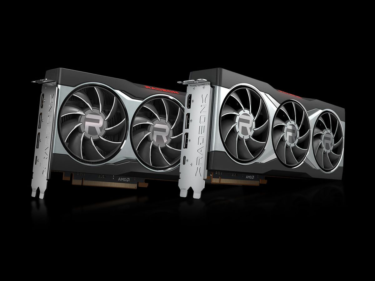 a product render of two AMD Radeon RX 6000 graphics cards, the RX 6800 and RX 6800 XT