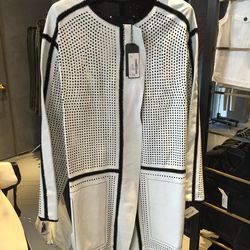 Perforated leather coat, $499 (was $5,500)