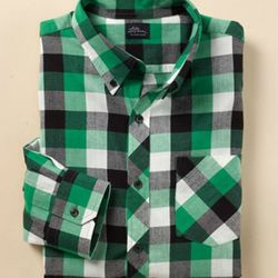 "<a href=""http://www.llbean.com/llbeansignature/llb/shop/66945?subrnd=1&parentCategory=505939&feat=505939-sigtn&cat4=505938&productId=1113883&attrValue_0=Kelly Green"" rel=""nofollow"">Hunter's Buffalo Plaid Check Shirt</a>, $69: ""I r"