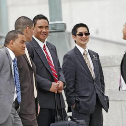 Missionaries outside during The Church of Jesus Christ of Latter-day Saints' Saturday afternoon session of the 183rd Annual General Conference Saturday, April 6, 2013, in Salt Lake City.