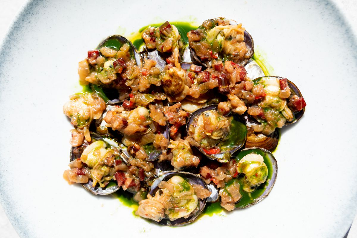 XO baked clams, with juiced garlic chives and fennel