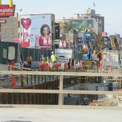 3:30 p.m. Closer view of the excavation work along Clark Street -