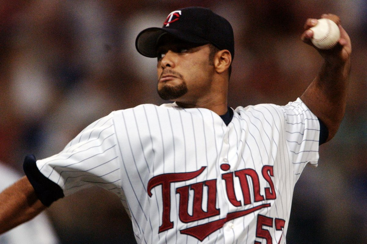 MONDAY_07/15/02_Mpls. - - - - - - - Twins pitcher #57 Johan Santana pitching in the 1st inning.
