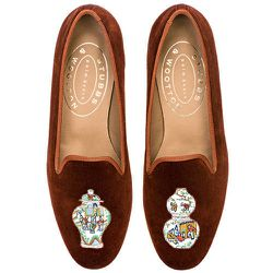 """<b>Stubbs & Wootton</b> Famille Brick, <a href=""""http://www.stubbsandwootton.com/index.php/shop-women/slippers/famille-brick.html"""">$400</a>"""