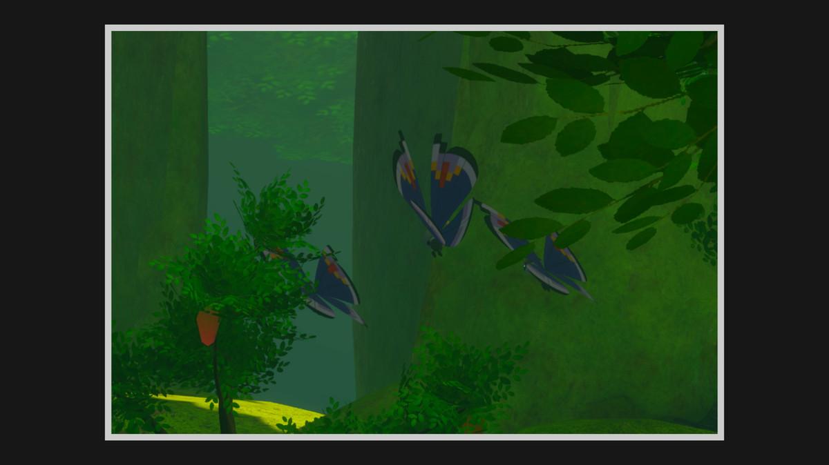 Elegant Pattern Vivillon flying on Elsewhere Forest near some fruit trees