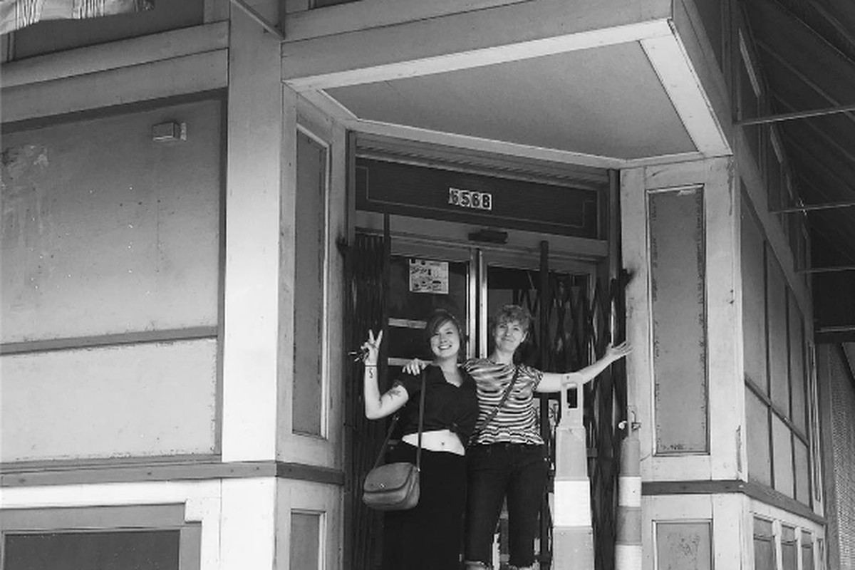 Lucy de Parry and Molly Mitchell outside of the future home of Wilda's.