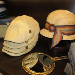 Ford everyday straw flapcap, $45, and Allison straw cloche, $60
