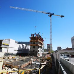Construction on 95 State at City Creek, located at 95 S. State in Salt Lake City, continues on Monday, May 4, 2020.