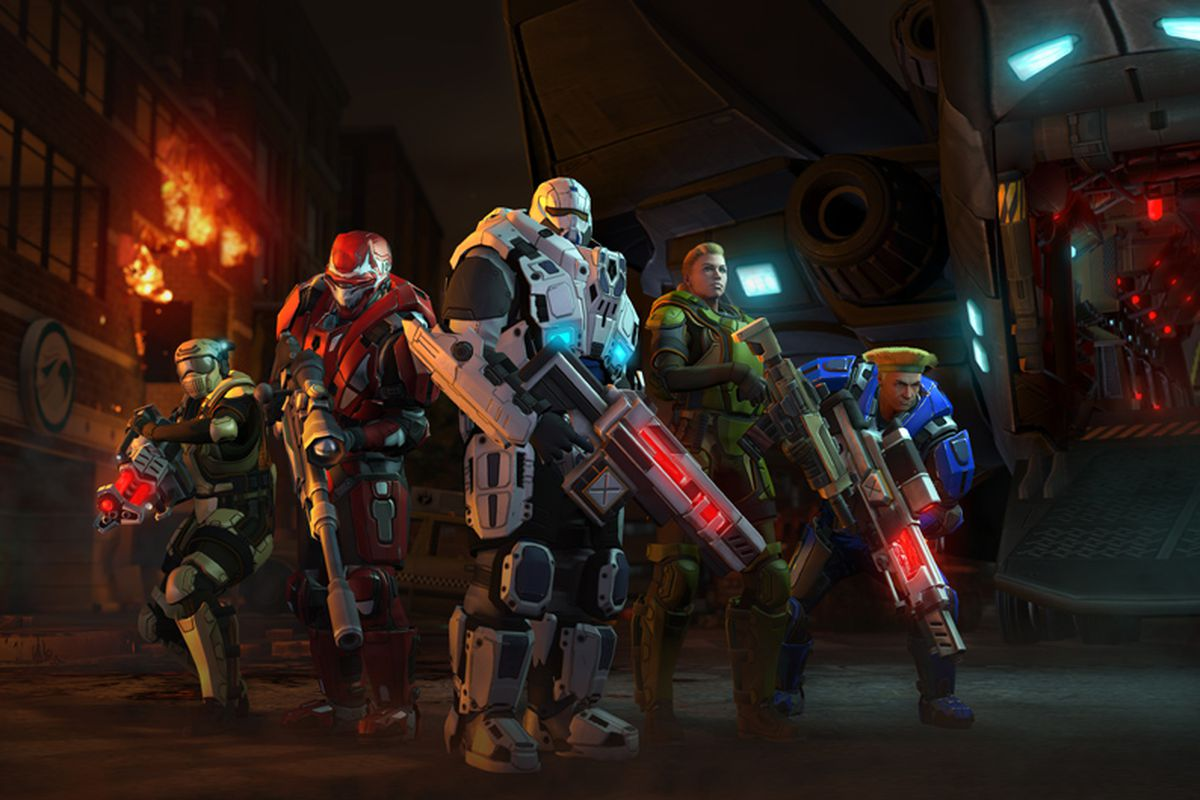 Armored soldiers from XCOM: Enemy Unknown with top-tier laser weapons.