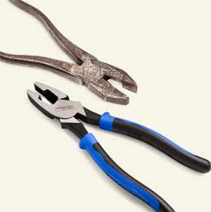 <p>Klein's hand-forged linesman pliers from 1904 (TOP) are the ancestor of today's precisely machined side-cutting pliers for snipping wire (BOTTOM).</p>