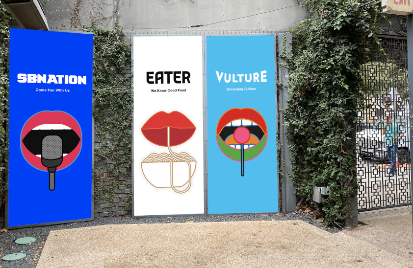 The main entrance on the inside of The Belmont with posters of the mouths holding objects and their respective network logos