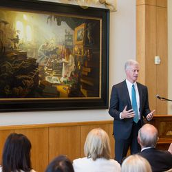 """BYU president Kevin J. Worthen said a few remarks at the unveiling of Greg Olsen's new painting """"Treasures of Knowledge."""" The painting will be displayed in the family room of the Gordon B. Hinckley Visitors and Alumni Center. The painting was commissioned by Leo and Annette Beus."""