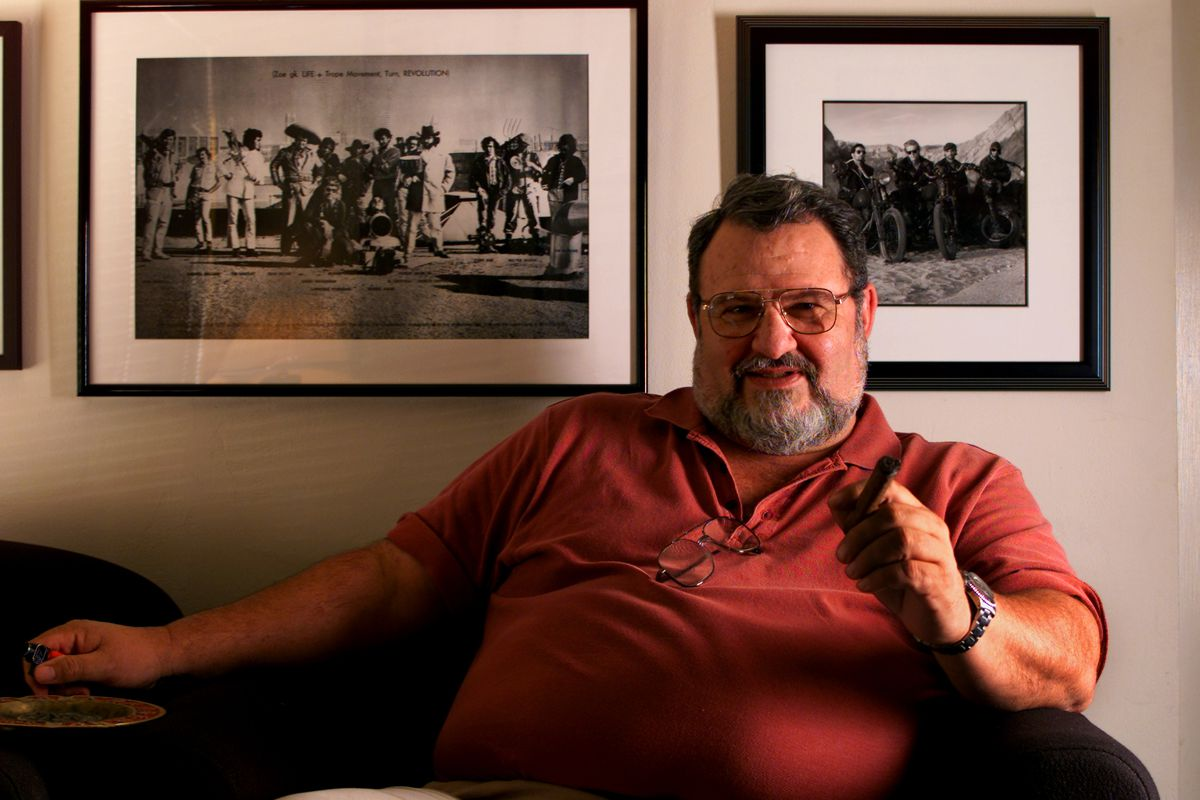 Screenwriter John Milius in a portrait in his Burbank office, Monday, July 23, 2001.